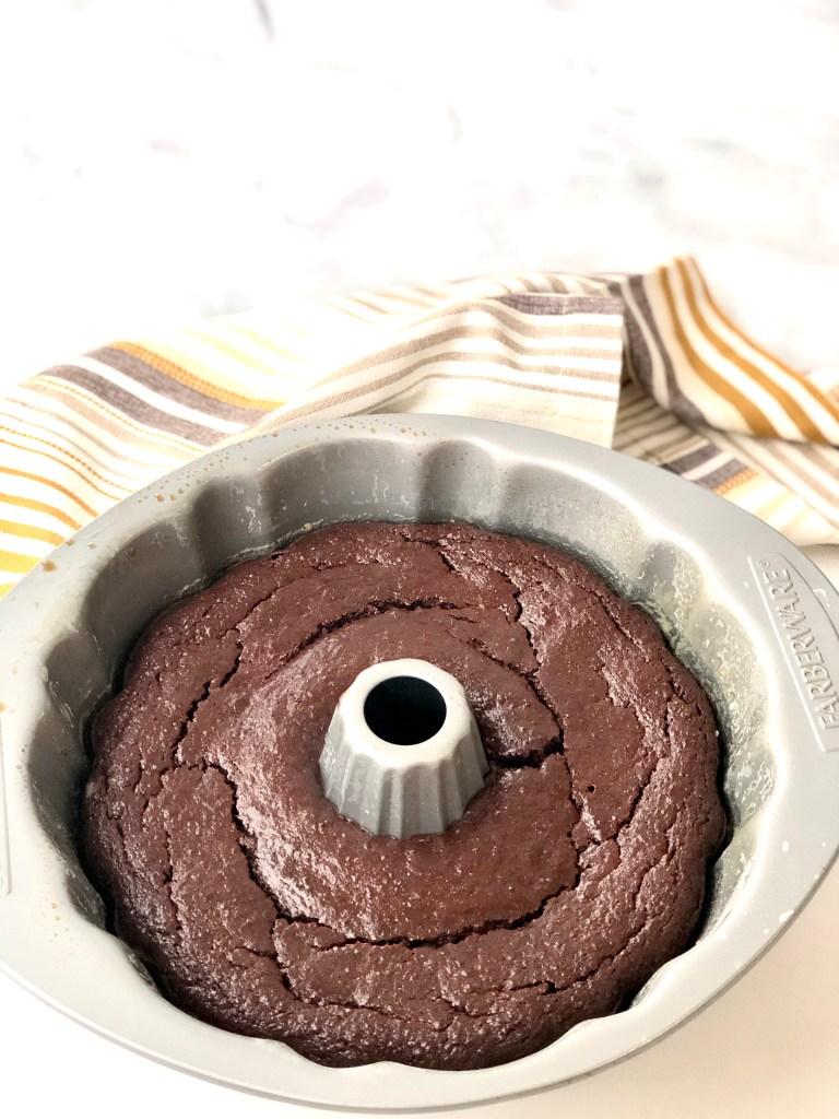 baked chocolate quinoa cake inside a bundt pan