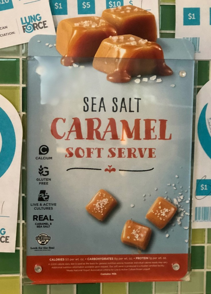 gluten-free frozen yogurt shop - sea salt caramel