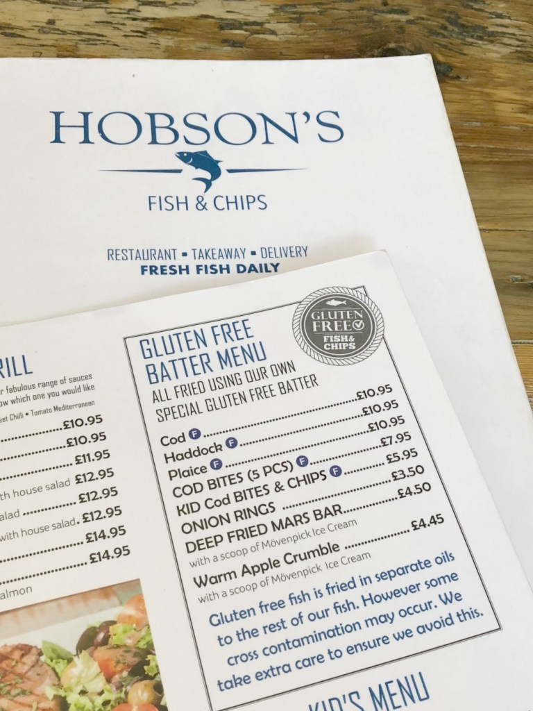 Hobson's Fish and Chips Gluten-Free Menu