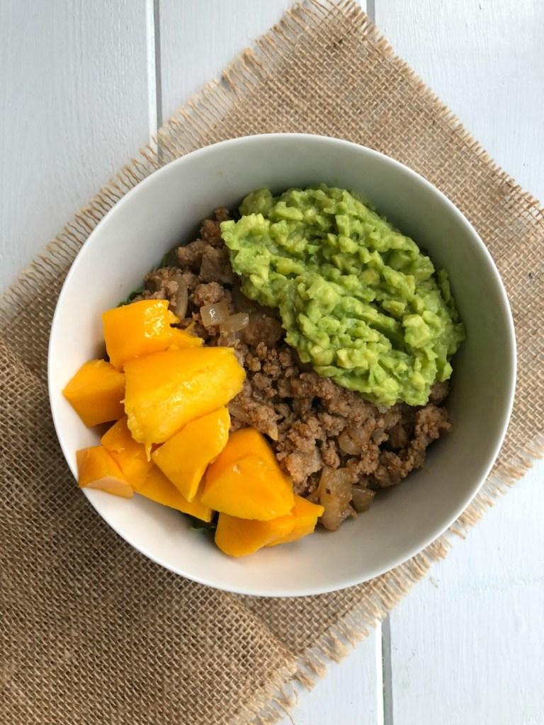 Turkey Taco Bowl with Guac and Mangos