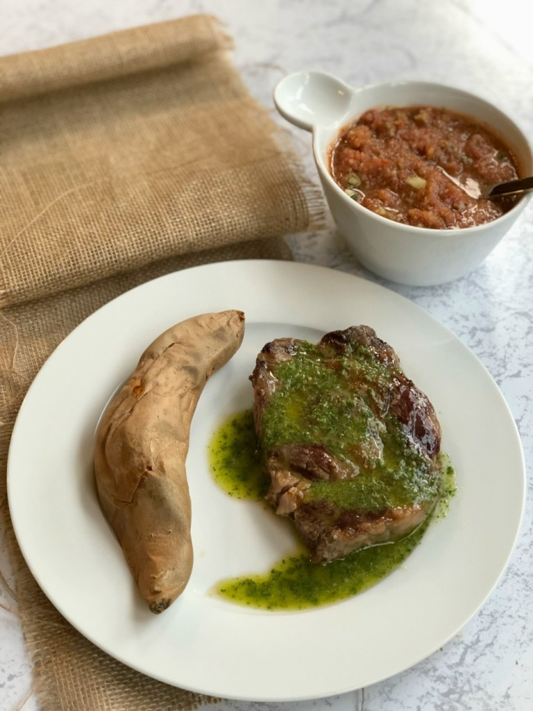 Whole 30 Recipe - Grilled steak with chimichurri sauce and sweet potato
