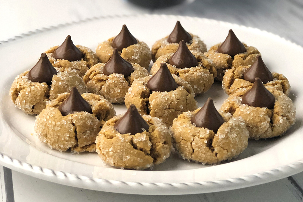 Gluten-free peanut butter blossoms recipe header