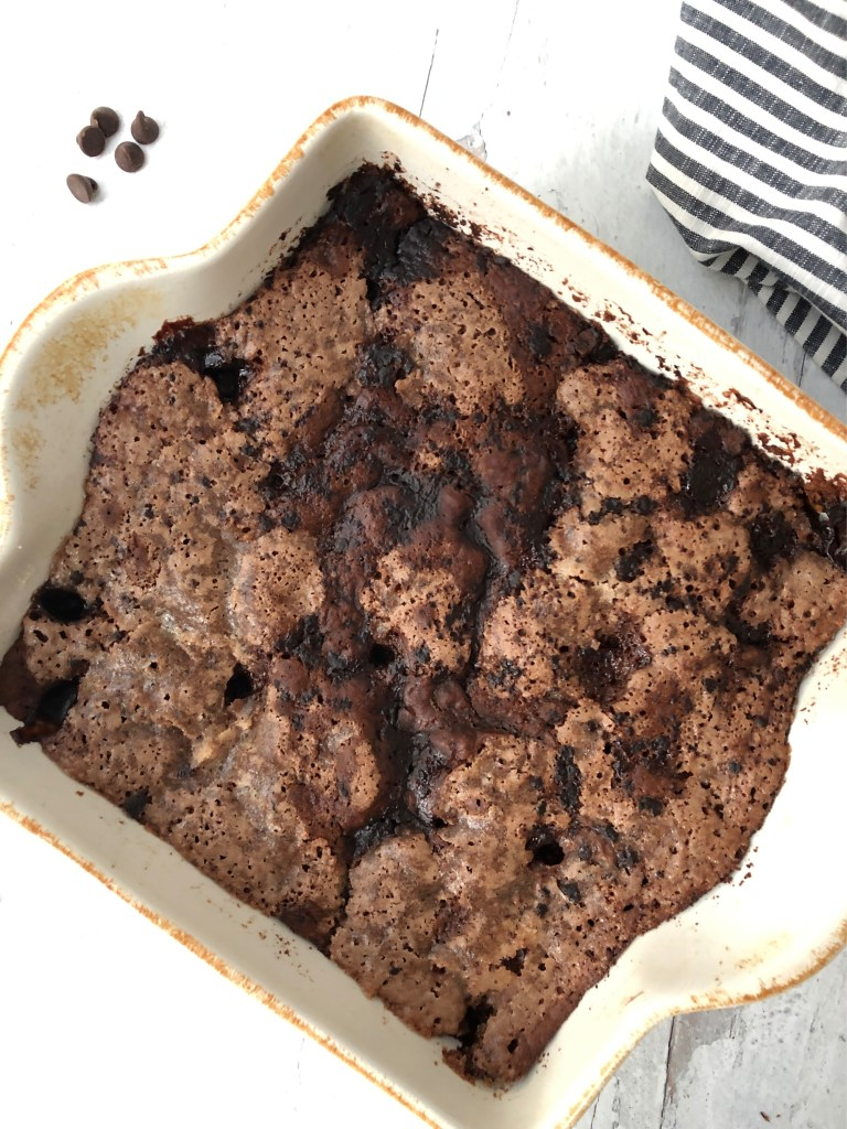 overhead image of cooked chocolate pudding cake