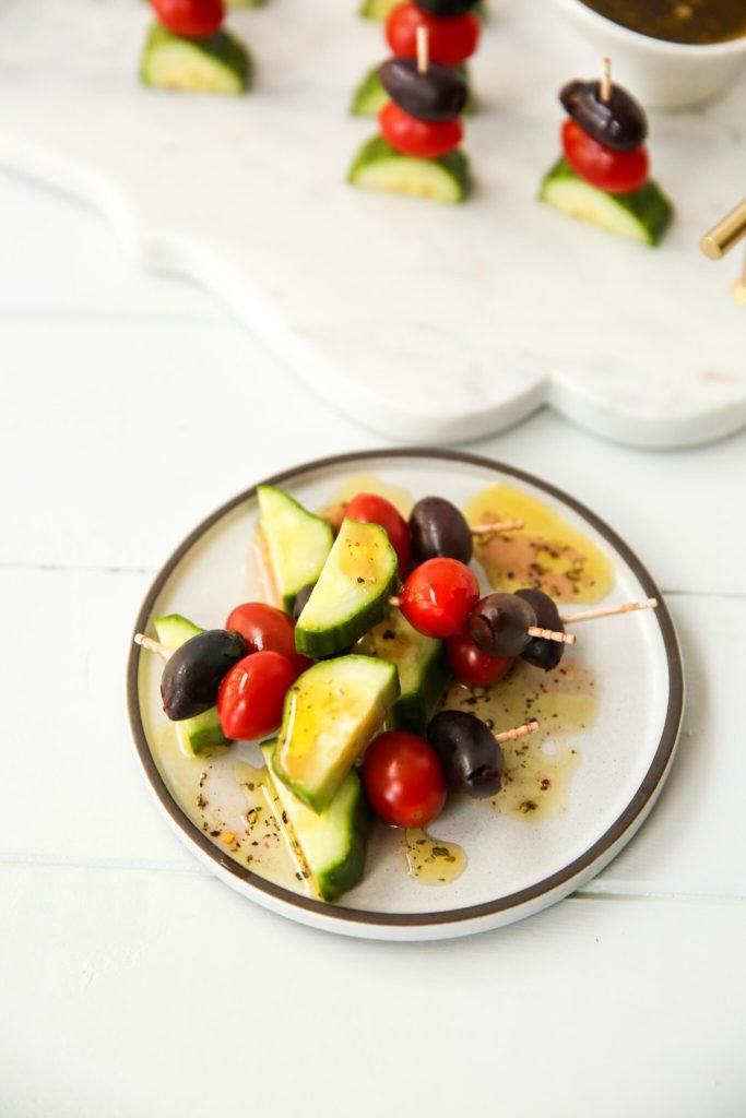 Greek Salad Kabobs with dressing horizontal display
