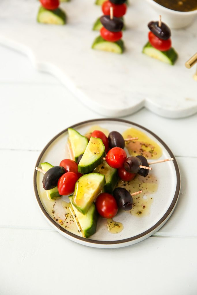 Greek Salad Kabobs with dressing horizontal display