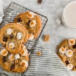 Gluten-Free S'mores Cookie header - overhead shot of cookies with milk