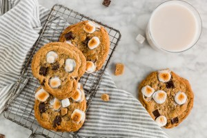 Gluten-Free S'mores Cookie header - overhead shot of cookies with milk