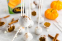 Gluten-Free Pumpkin Bread Cake Pops header image of upclose cake ball