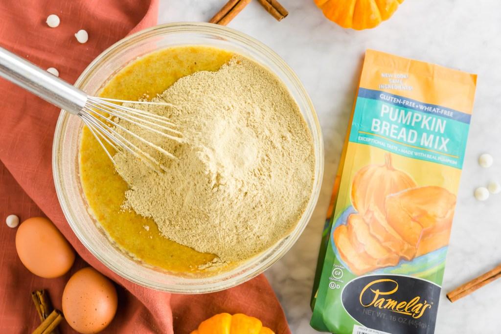 Making Pamela's pumpkin cake bread mix - stirring ingredients