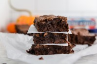 Gluten-Free Double Chocolate Brownies stacked - header
