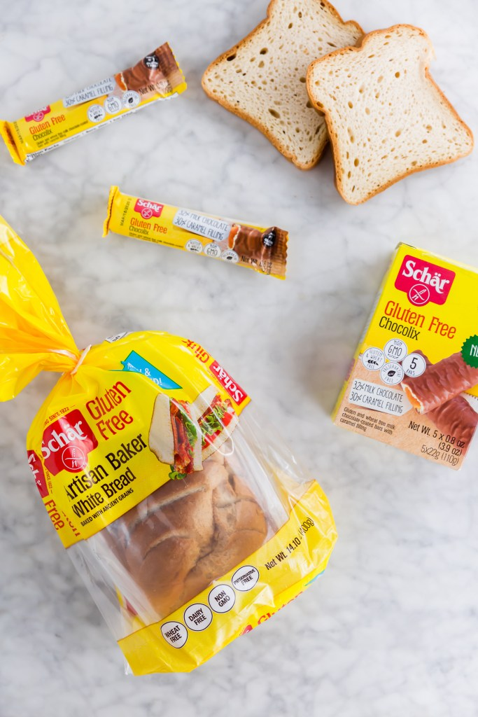 Picture of Schar artisan white bread packaging, slices and Chocolix bars