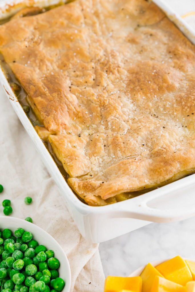 final baked gluten-free chicken pot pie in a casserole dish