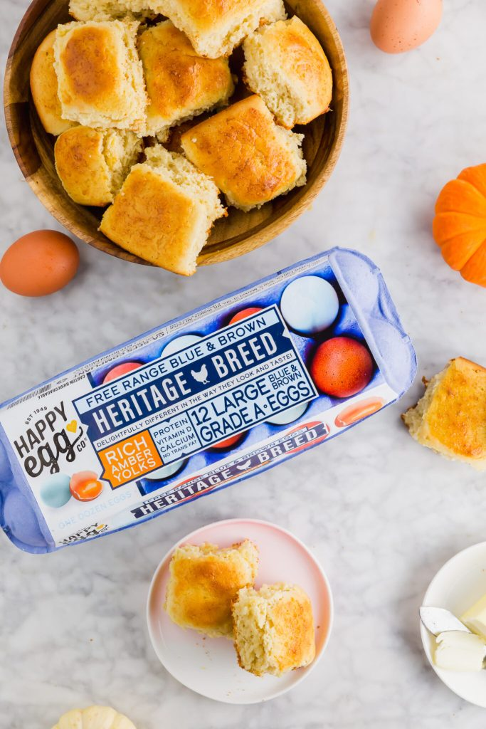 Heritage Breed Happy Eggs with final gluten-free dinner roll recipe