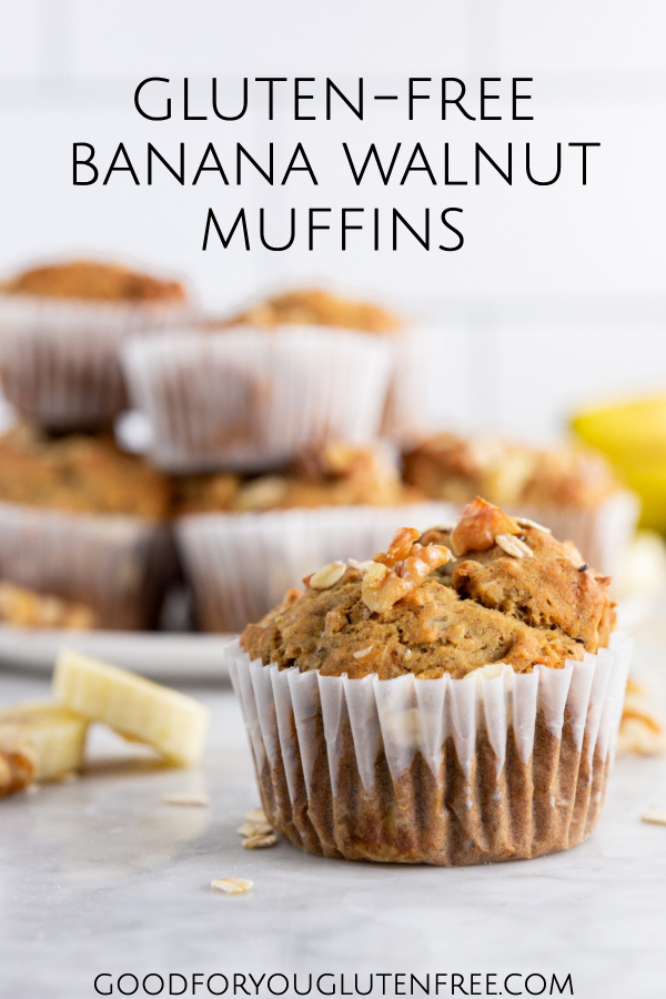 These Gluten-Free Banana Walnut Muffins are also vegan, and made with a protein powder nutritional boost.