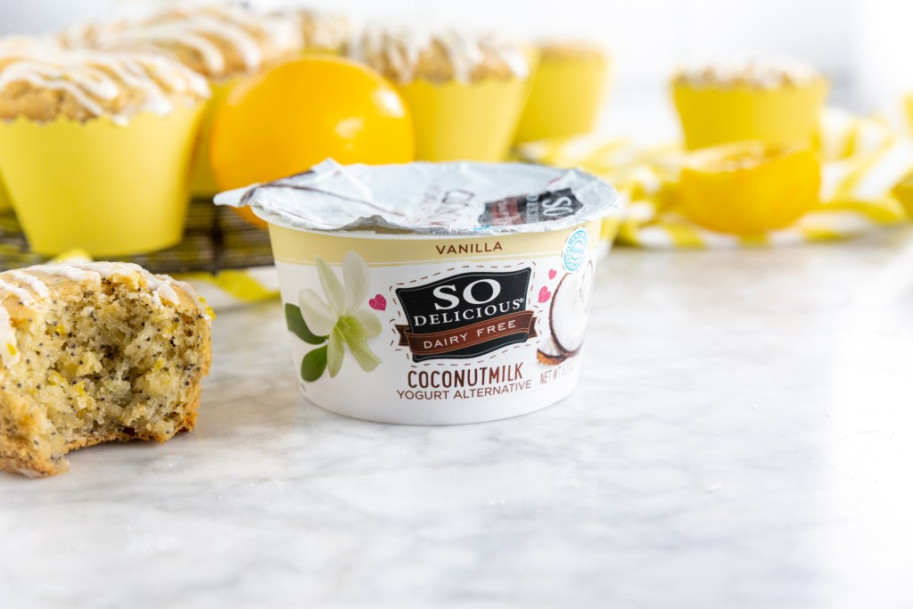 Picture of So Delicious coconutmilk yogurt surrounded by lemons