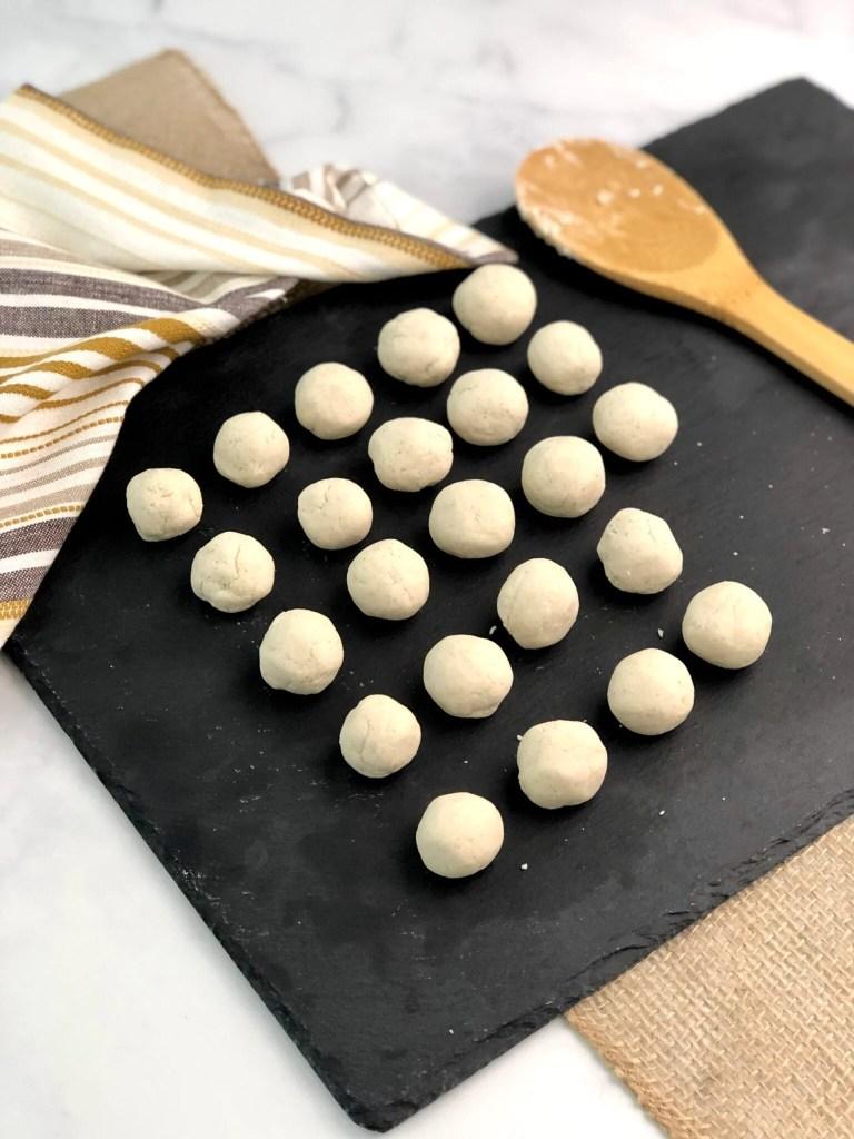 gluten-free dumplings rolled into 25 even balls of dough