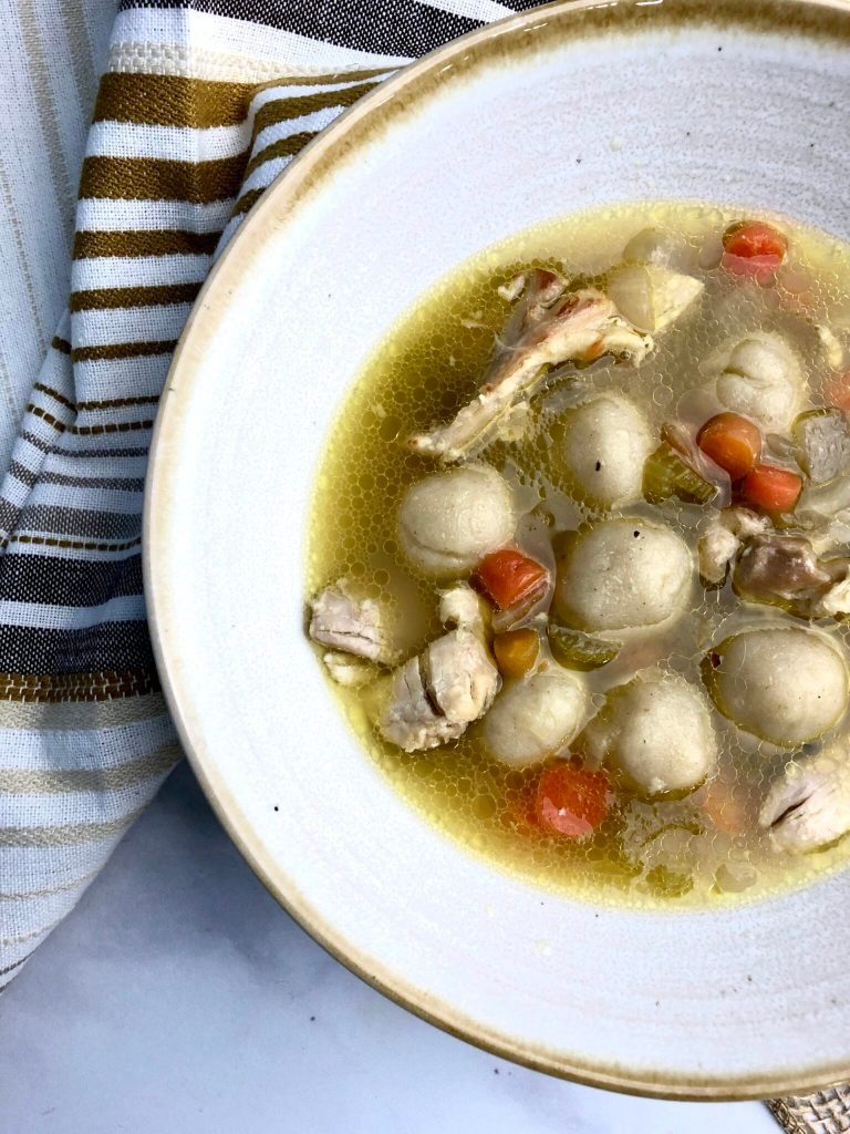 close up image on easy gluten-free chicken and dumpling soup