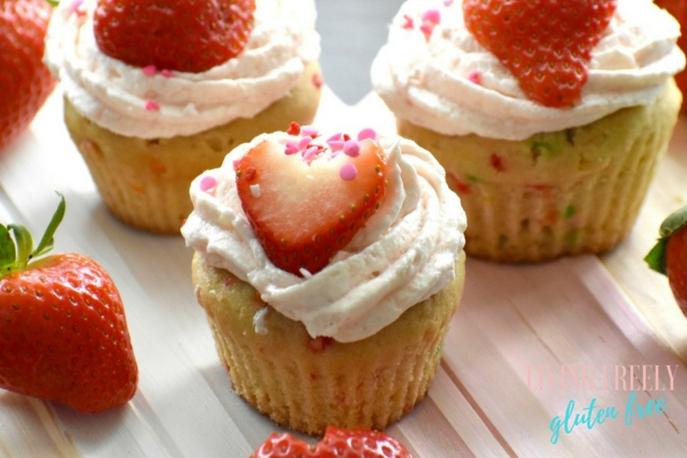 Gluten-free funfetti cupcakes with strawberry buttercream by Living Freely Gluten Free
