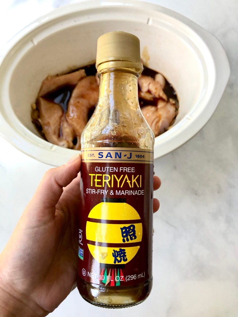 Upclose picture of gluten-free teriyaki sauce by San-J