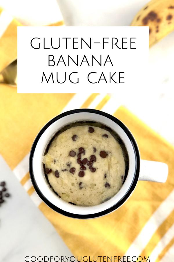 Pin image showing banana mug cake overhead image