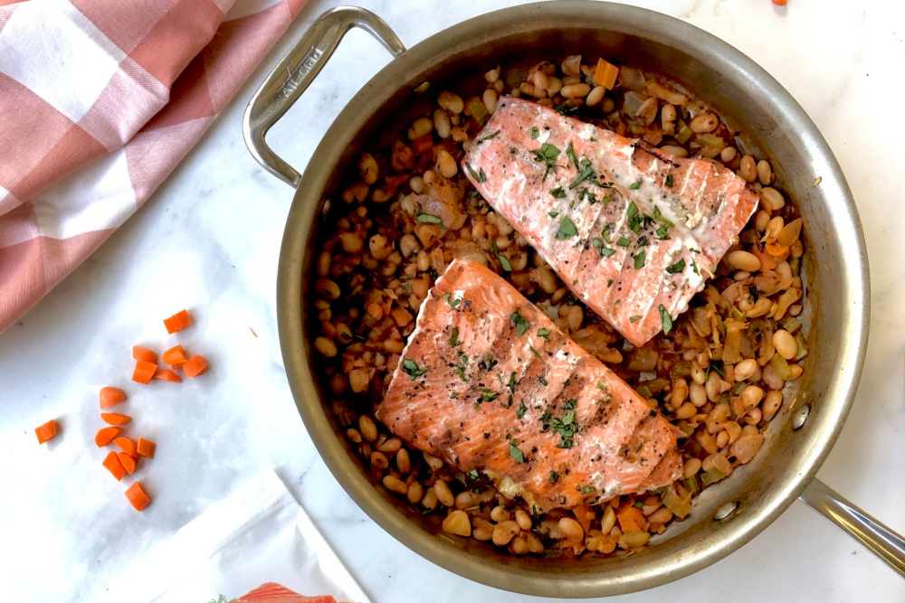 Grilled Wild Salmon with Bean Stew