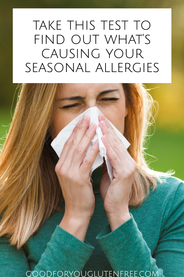 Image of a woman sneezing into a tissue with seasonal allergies with text on image that says, Take this test to find out what's causing your seasonal allergies
