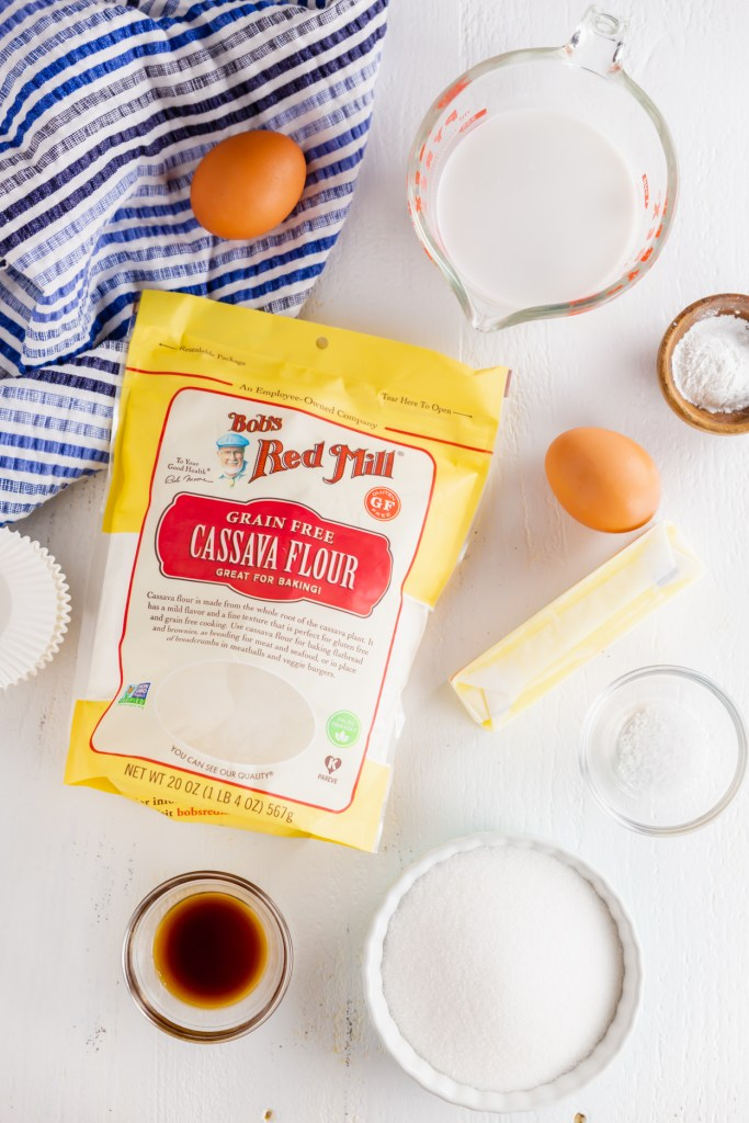 Picture of Bob's Red Mill Cassava Flour bag surrounded by an egg, milk, butter and other ingredients.