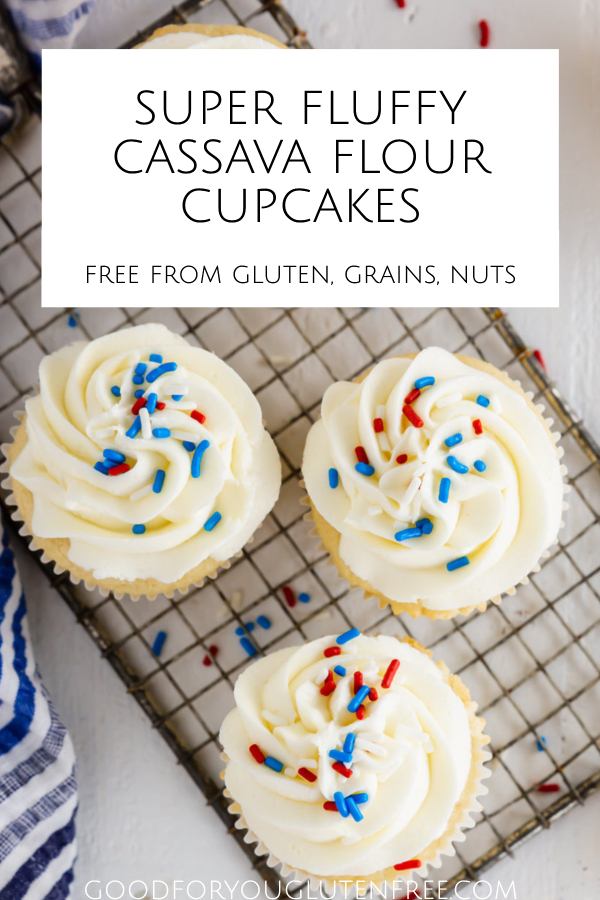 Pin image that shows the frosted yellow cupcakes with red and blue sprinkles.