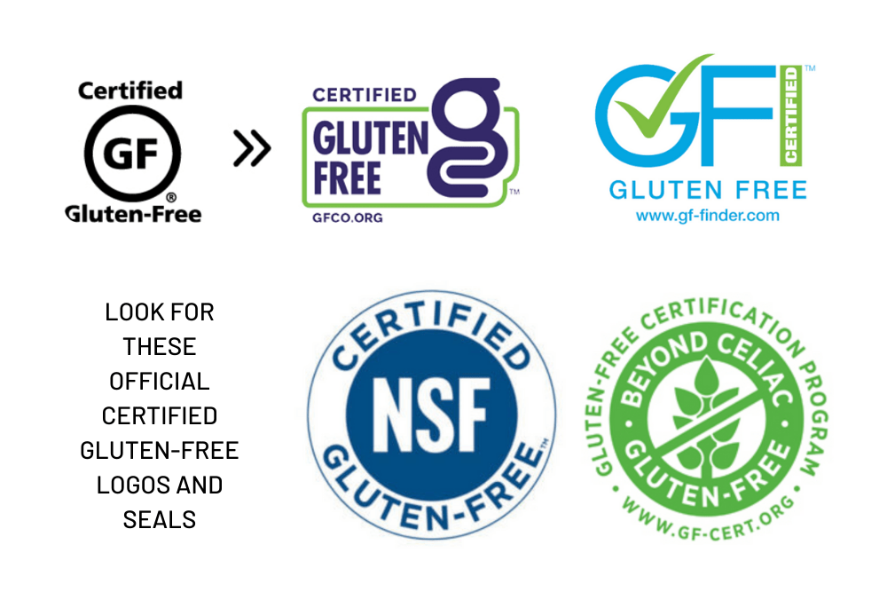 Graphic features the certified gluten-free logos and seals.