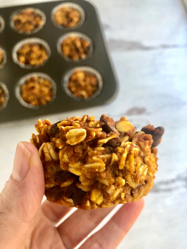 close up of baked pumpkin oatmeal cup