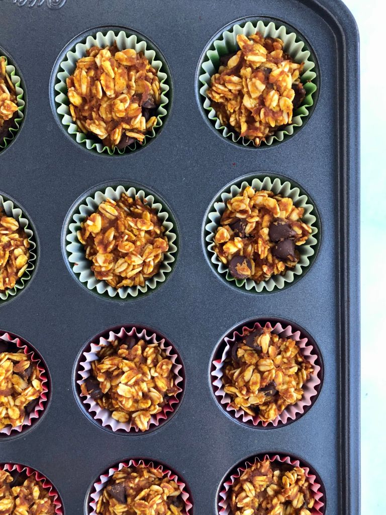 mini pumpkin oatmeal cups in a mini muffin pan