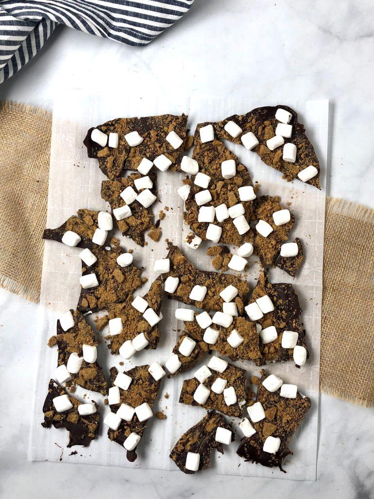 Chocolate s'more bark broken up into pieces