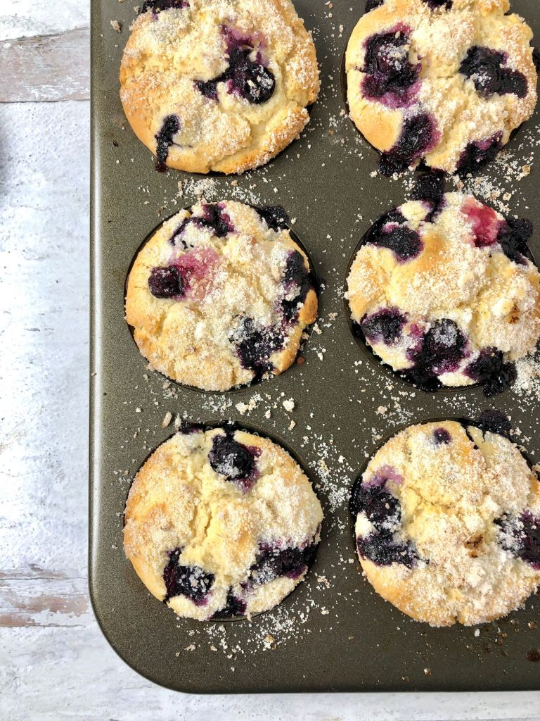 close up on blueberry muffins and sugary topping