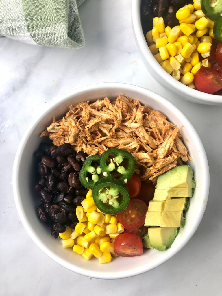 Overhead on top of a gluten-free chicken enchilada bowl