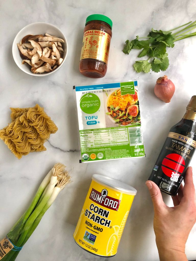 Ingredients needed to make crispy tofu and rice ramen