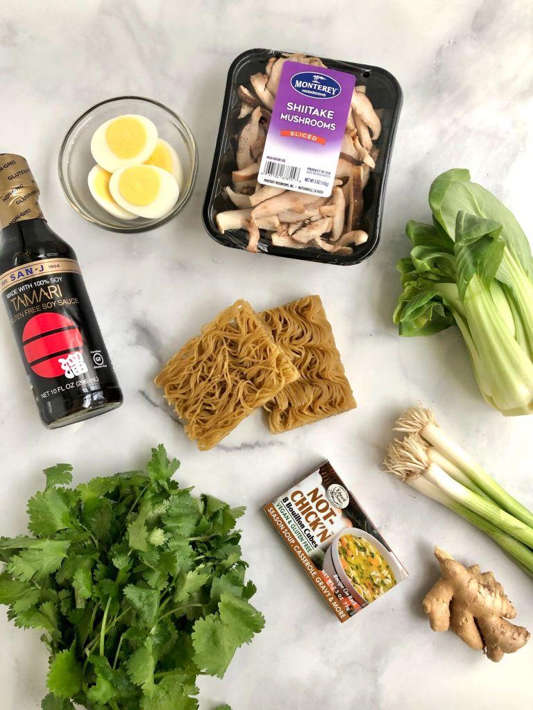 Ingredients for gluten-free ramen noodles soup recipe