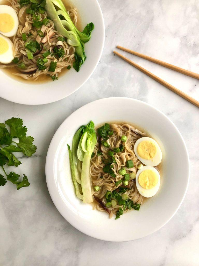 Picture of assembled ramen noodle soup bowls.