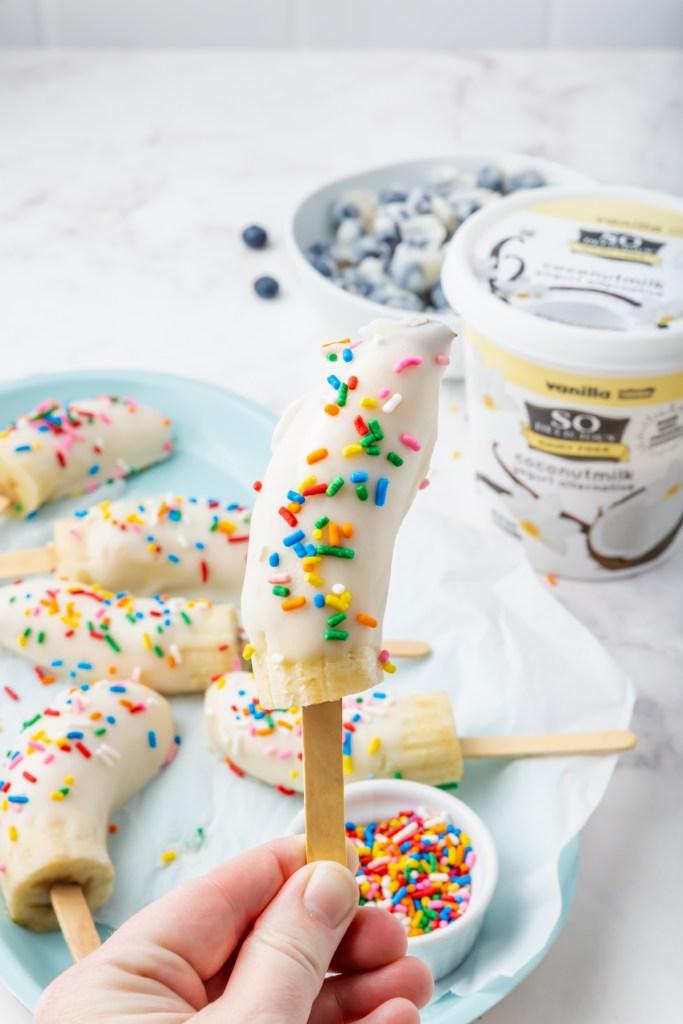 Picture of frozen yogurt banana popsicle upclose