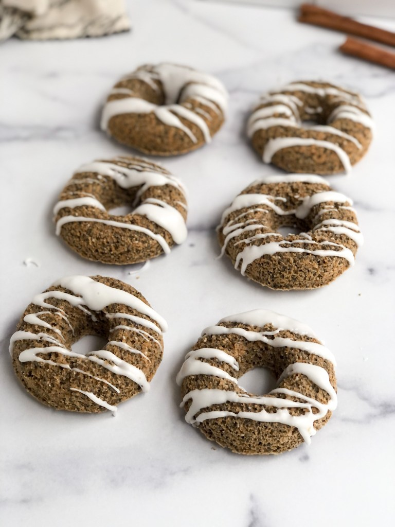 gluten-free breakfast donuts with drizzle of glaze