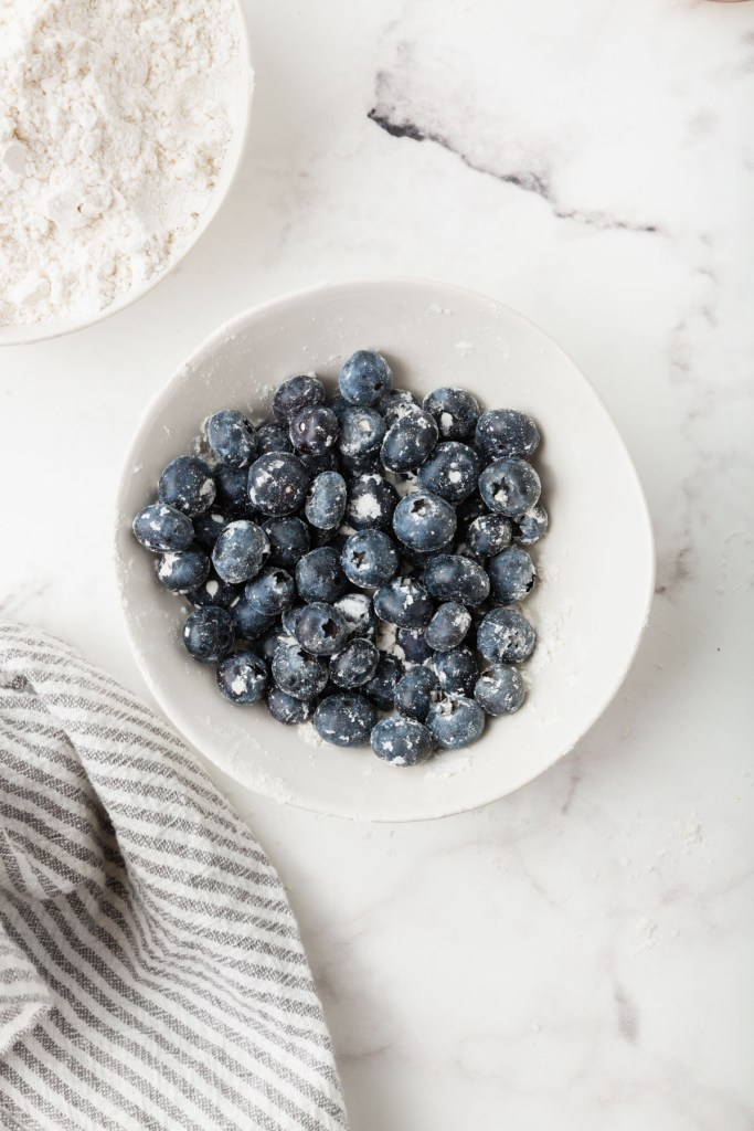 blueberries in a bowl coated with flour