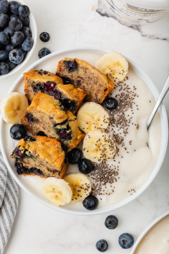 upclose picture of blueberry banana bread yogurt bowls