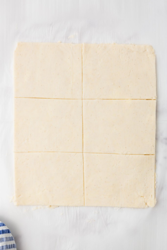 dough cut into 6 rectangles