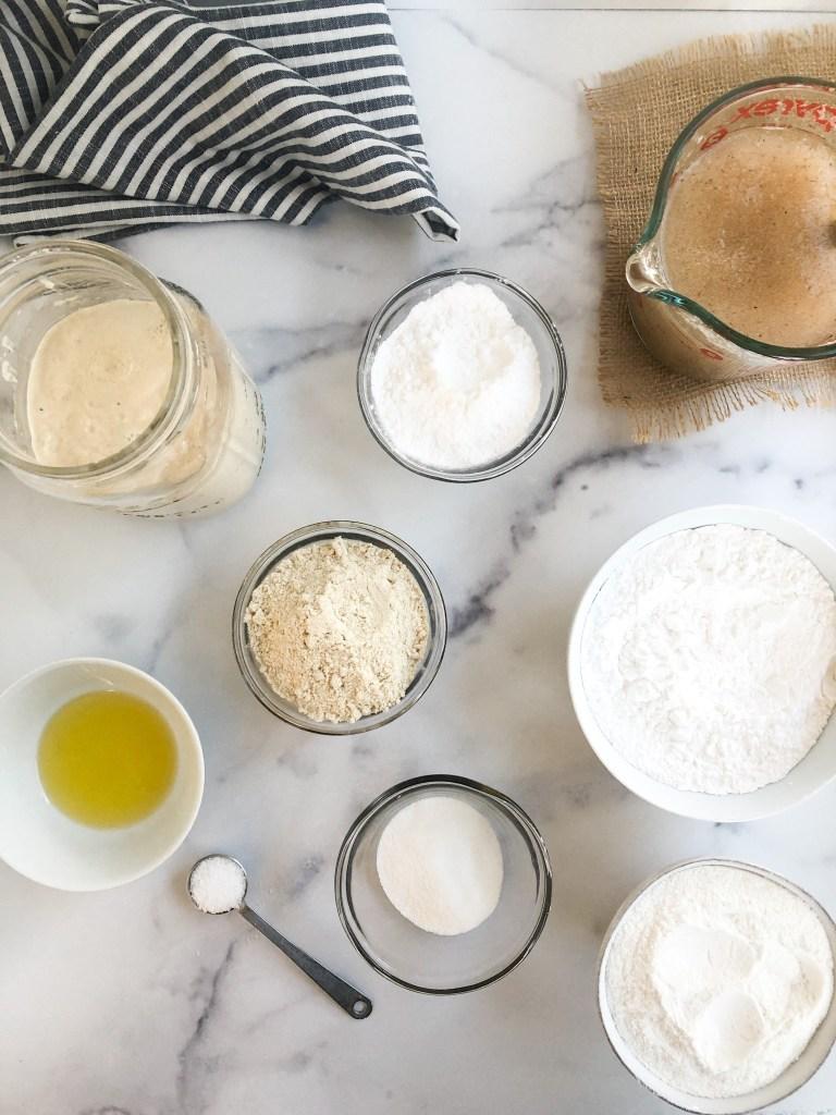 Ingredients for gluten-free sourdough bread recipe