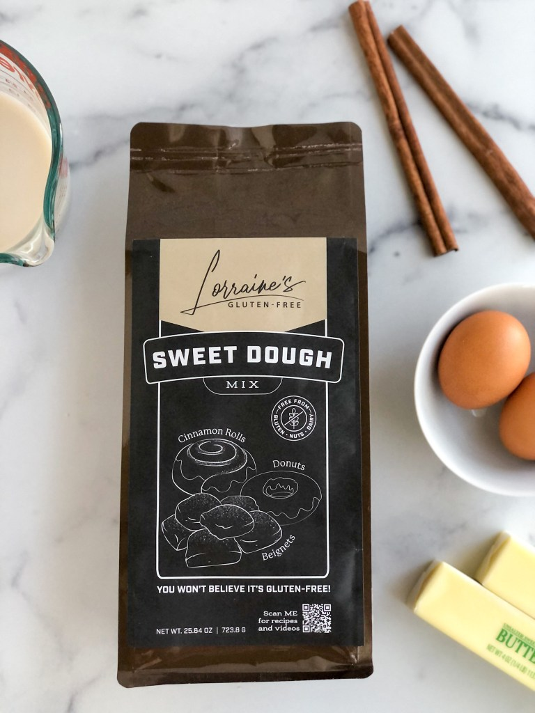 Close up picture of Lorraine's Sweet Dough mix packaging