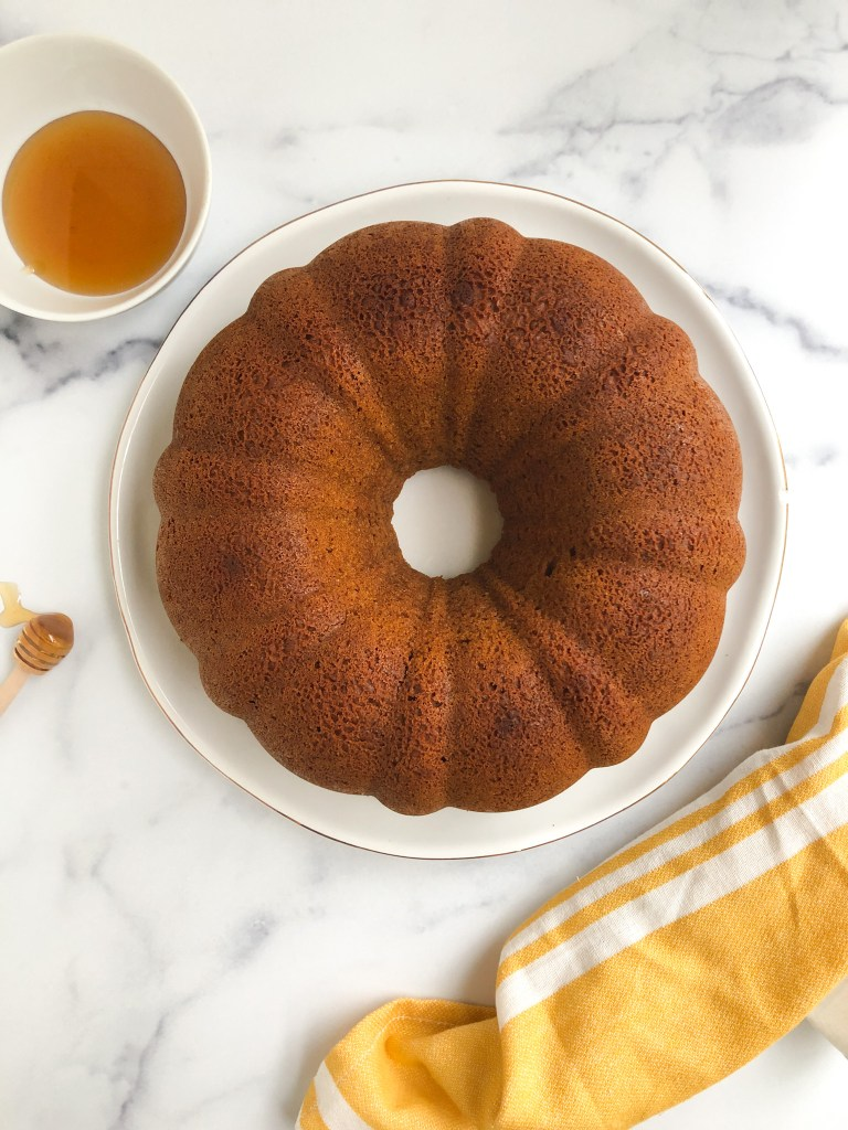 gluten-free honey cake without frosting, bundt shaped