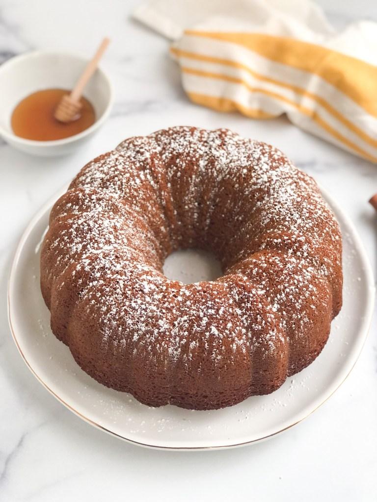 gluten-free honey cake covered with powdered sugar