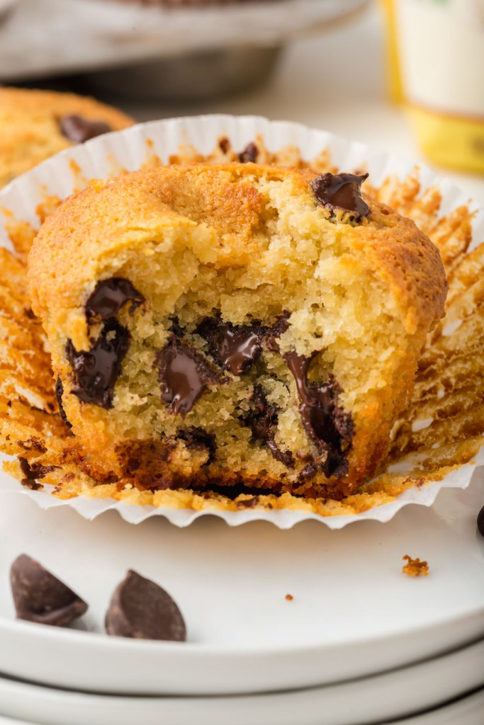 almond flour chocolate chip muffins with bite taken out it