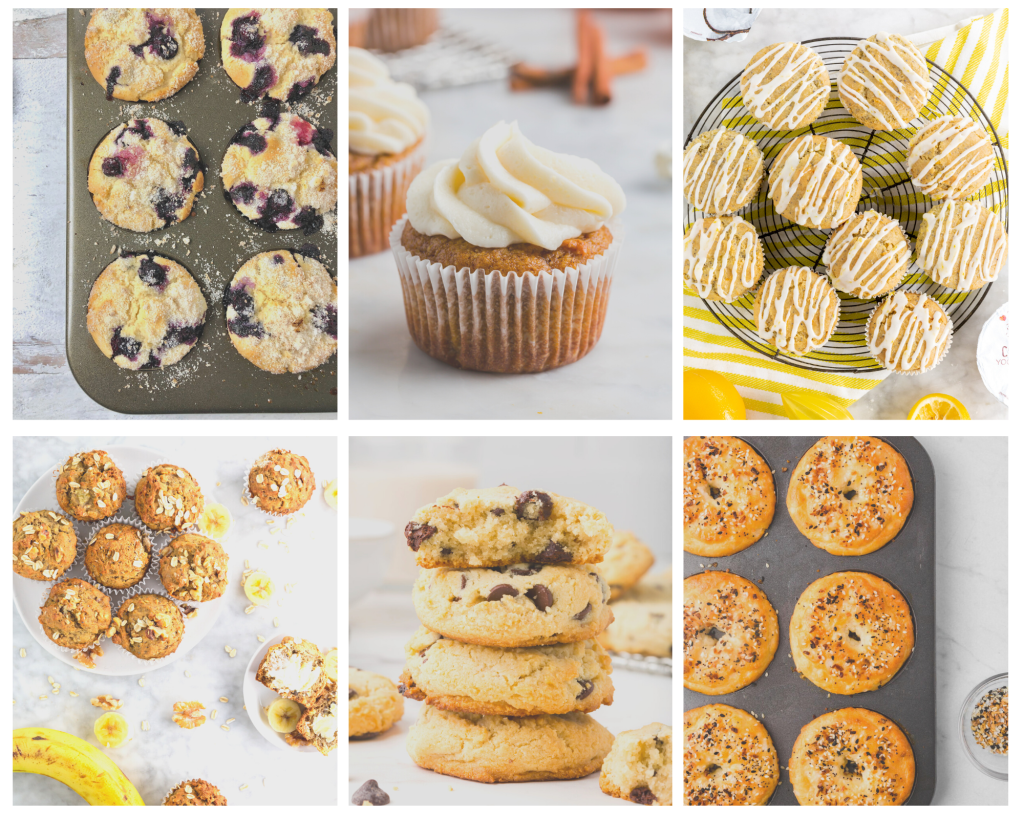collage of gluten-free recipes with almond flour and muffins and cookies too.