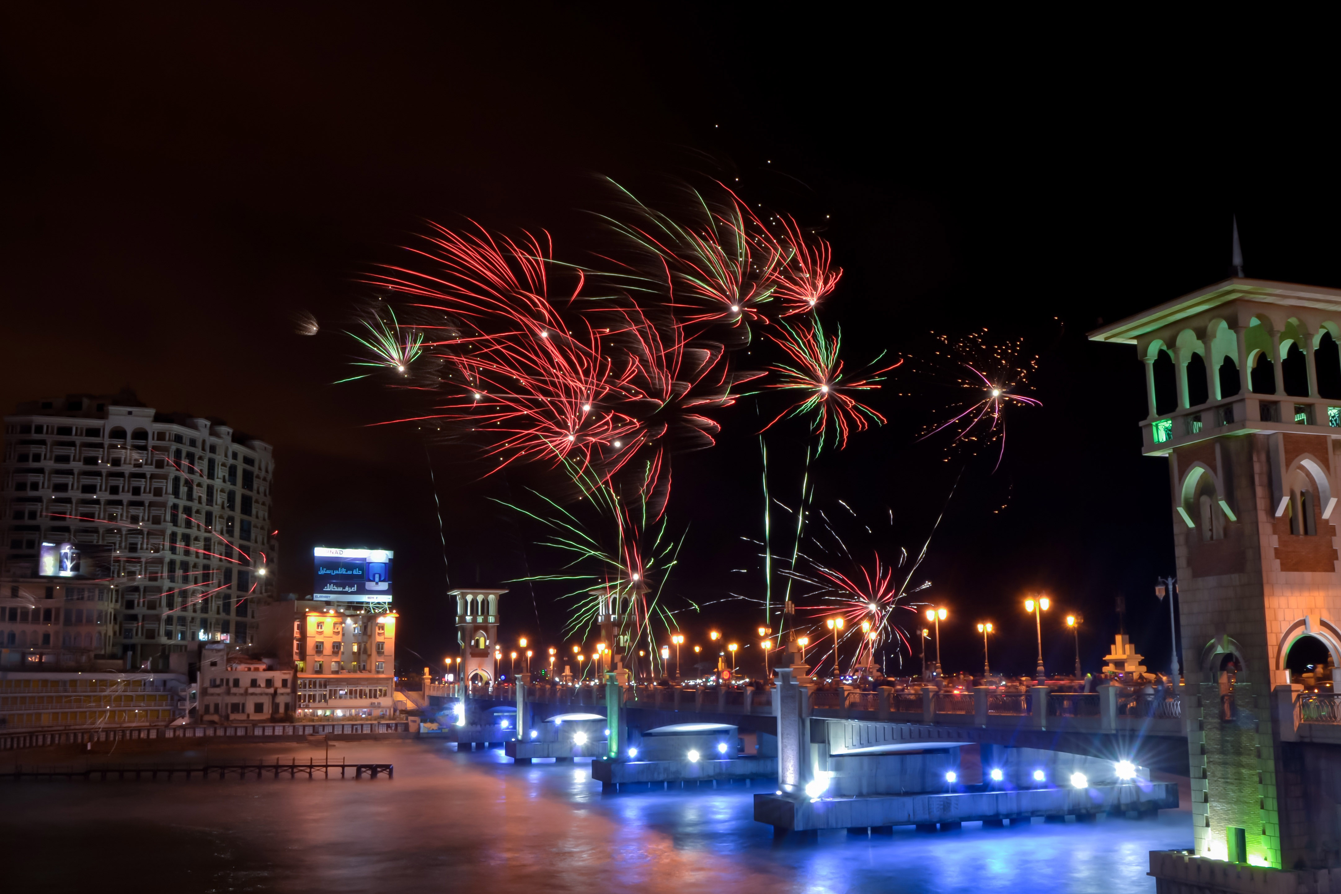 Wallpaper Desktop Hd Quotes Fireworks Over The Night Sky In Alexandria Egypt Image