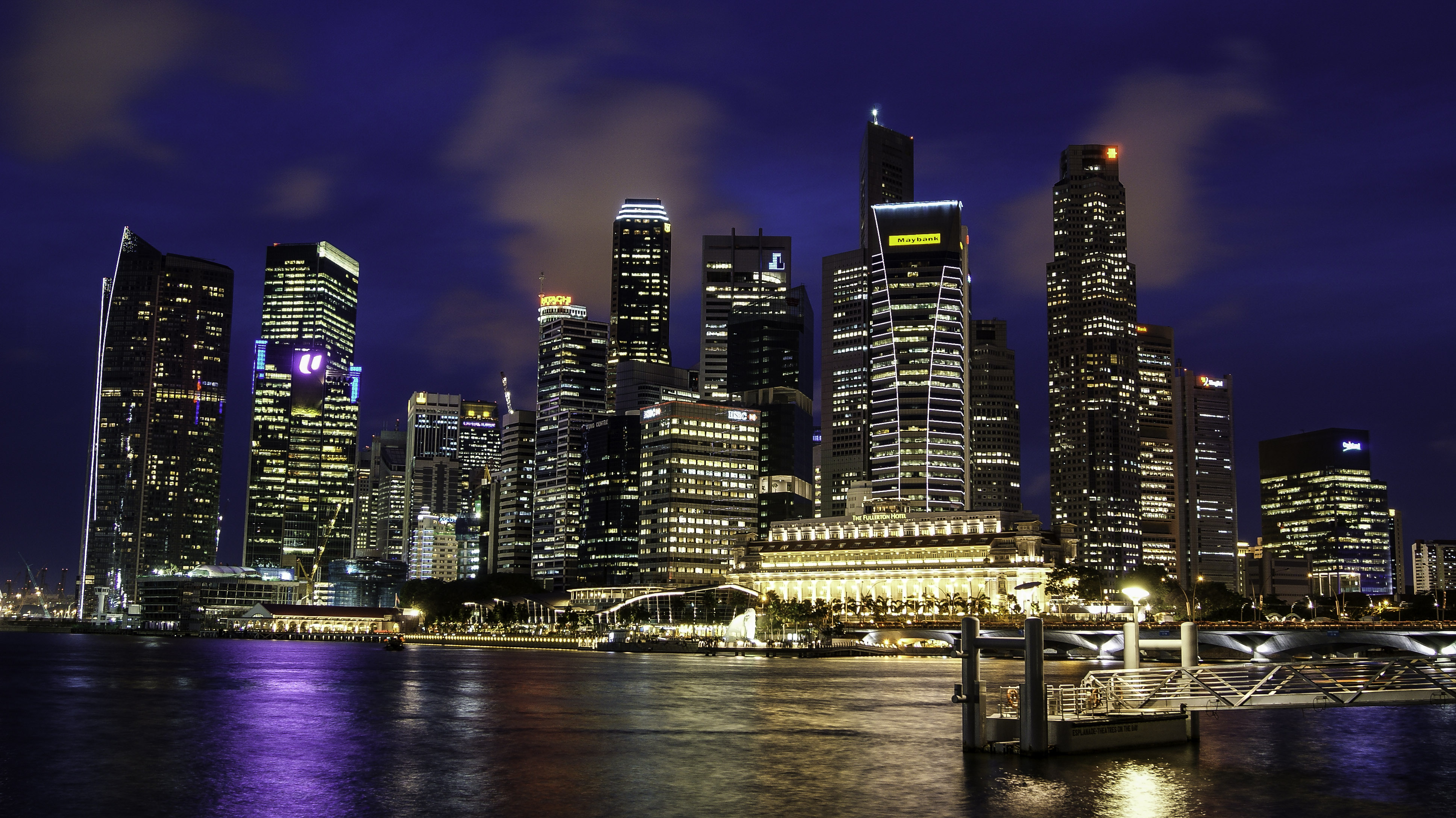 Good Evening Hd Wallpaper Singapore Skyline With Dark Blue Sky In The Background At